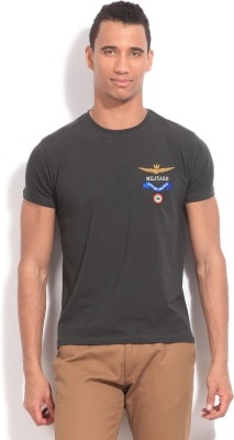 Flippd Solid Men's Round Neck Grey T-Shirt