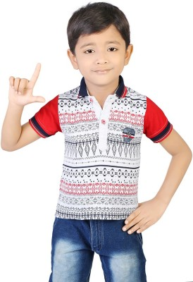 Koolkids Printed Boy's Flap Collar Neck Red T-Shirt