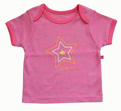 Babeez Striped Baby Girl's Round Neck Pink, White T-Shirt