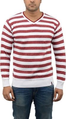 Blue Heaven Striped Men's V-neck Maroon, White T-Shirt