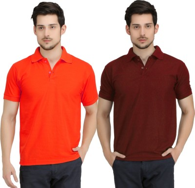 Krazy Katz Solid Men's Polo Neck Red, Maroon T-Shirt