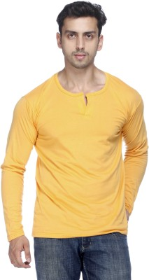 Demokrazy Solid Men's Henley Yellow T-Shirt