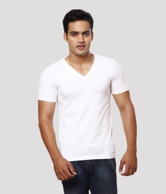 Casual Tees Solid Men's V-neck White T-Shirt