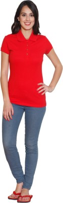 Sweet Dreams Solid Women's Polo Neck Red T-Shirt