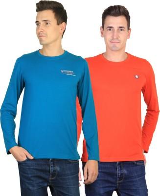 Duke Solid Men's Round Neck Blue, Orange T-Shirt