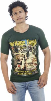 Adventure Printed Men's V-neck Dark Green T-Shirt