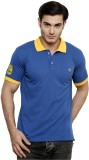 ominous Solid Men's Polo Neck Blue T-Shi...