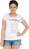 Vritti Printed Women's Round Neck White ...