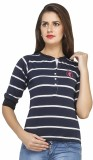 Run of luck Striped Women's Henley Blue ...
