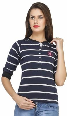 Run of luck Striped Women's Henley Blue T-Shirt
