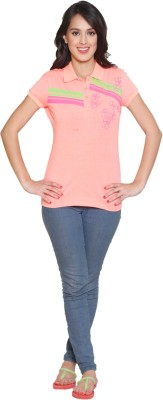 Sweet Dreams Solid Women's Polo Neck Pink T-Shirt
