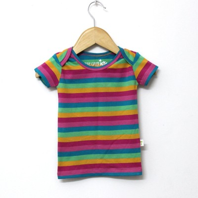 Little Green Kid Striped Baby Girl,s, Baby Boy's Round Neck Multicolor T-Shirt