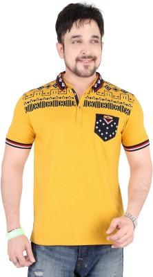 Moncheri Printed Men's Fashion Neck Yellow T-Shirt
