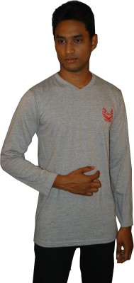 East West Embroidered Men's V-neck Grey T-Shirt