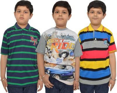 Shaun Striped Boy's Polo Neck, Round Neck Multicolor T-Shirt