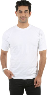 Fidato Solid Men's Round Neck White T-Shirt