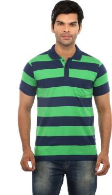 GOT IT Striped Men's Mandarin Collar Green T-Shirt