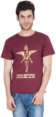 The Enthu Cutlet Graphic Print Men's Round Neck Maroon, Gold T-Shirt