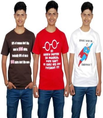 Molecules Printed Men's Round Neck Brown, Red, White T-Shirt