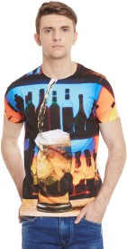 Wear Your Mind Printed Men's Round Neck Multicolor T-Shirt