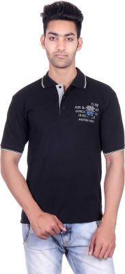Deutz Solid Men's Polo Neck Black T-Shirt