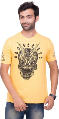 YOUTH & STYLE Printed Men's Round Neck Yellow T-Shirt