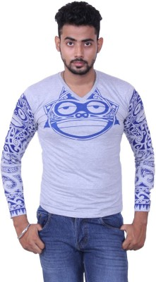 Austrich Printed Men's V-neck Grey T-Shirt