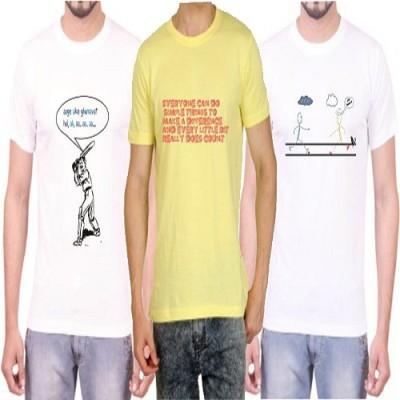 Teeswood Graphic Print Men's Round Neck White, Yellow T-Shirt