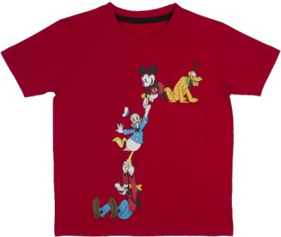 Mickey & Friends Printed Baby Boy's Round Neck Red T-Shirt