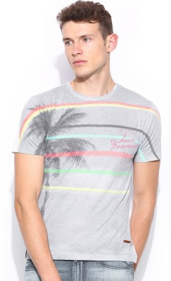 Mast & Harbour Printed Men,s Round Neck Grey T-Shirt