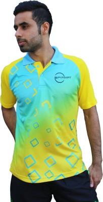 SPINART Self Design Men,s, Women's Flap Collar Neck Yellow, Blue T-Shirt