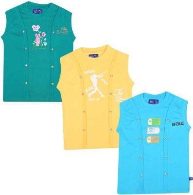 SPN Garments Printed Girl,s Round Neck Green, Yellow, Orange T-Shirt