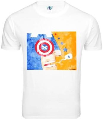 Nautanki Fashions Printed Men's Round Neck Reversible White T-Shirt