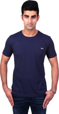 Bridge Solid Men's Round Neck Blue T-Shirt