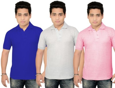 BrandTrendz Solid Men's Polo Neck Blue, Grey, Pink T-Shirt