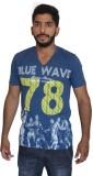 Uniqe Printed Men's V-neck Blue T-Shirt