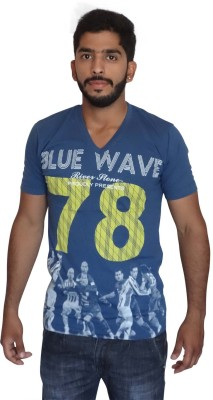Uniqe Printed Men's V-neck Blue T-Shirt