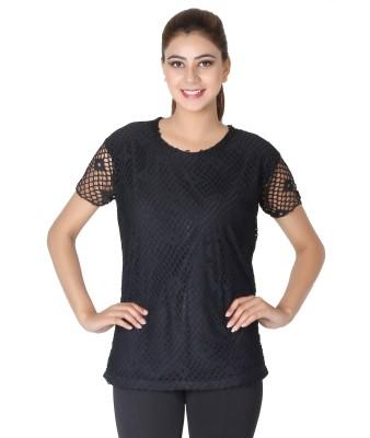 Broche Casual Short Sleeve Solid Women's Black Top