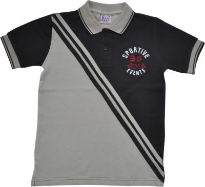 BG Casuals Solid Boy's Polo Neck Beige, Black T-Shirt