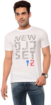 Ebry Printed Men's Round Neck White T-Shirt