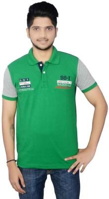 Lemon Slice Solid Men's Polo Neck Green, Dark Blue T-Shirt