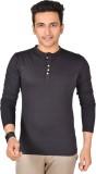 Buff Solid Men's Henley Black T-Shirt