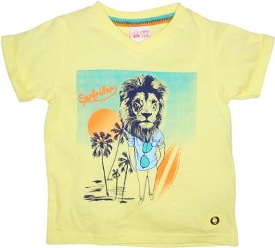 FS Mini Klub Printed Baby Boy's Round Neck Yellow T-Shirt