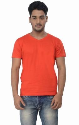 TeesTadka Solid Men's V-neck Orange T-Shirt