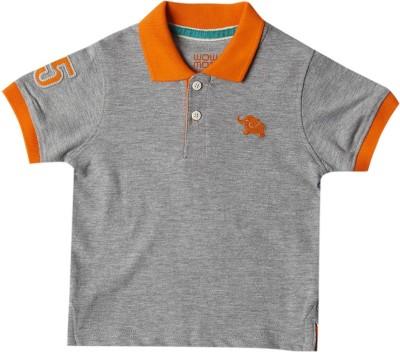 Wowmom Solid Baby Boy's Polo Neck Grey T-Shirt