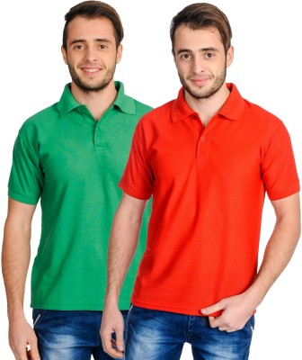 Superjoy Solid Men's Polo Neck Green, Red T-Shirt