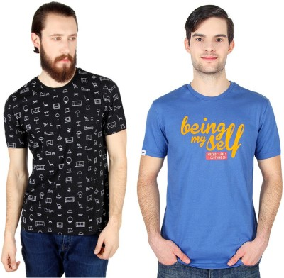 Threads & Pals Printed Men's Round Neck Black, Blue T-Shirt