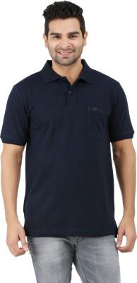 6P6 Solid Men's Polo Neck Dark Blue T-Shirt