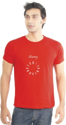 Lacrafters Graphic Print Men's Round Neck Red T-Shirt