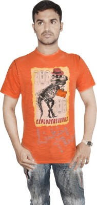 Linking Threads Printed Men's Round Neck Orange T-Shirt
